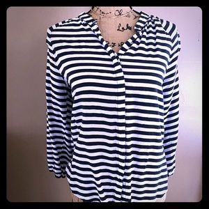 Keds Steep Stripe Navy Button Down Blouse
